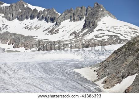 Rhone Glacier, a glacier in the Swiss Alps, Switzerland, Europe - stock photo
