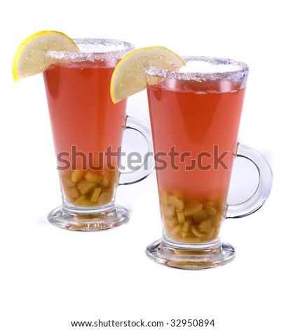 rhubarb compote with lemon isolated on a white
