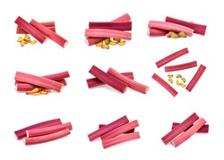 rhubarb stalks isolated on a white background