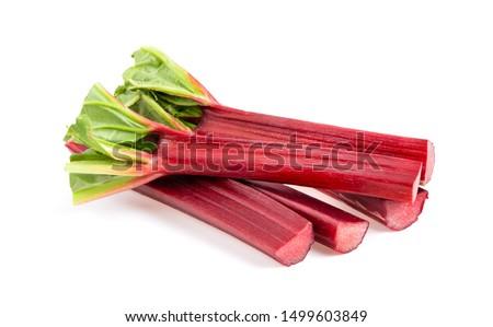 Rhubarb stalks on a white background