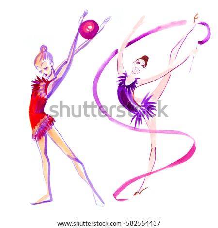 rhythmic gymnastics, watercolor