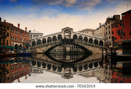 Rialto Bridge And Garnd Canal In Venice Stock Photo 70565014
