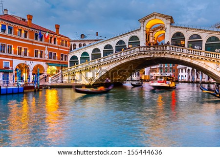 Rialto Bridge at dusk Venice Italy