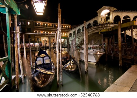 Rialto Bridge in Venice at night, Italy