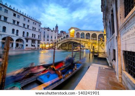 Rialto Bridge (Ponte Di Rialto) in Venice Italy at night time