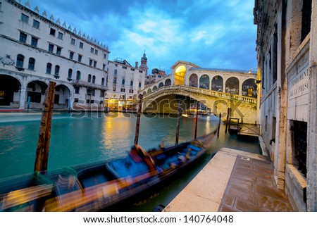 Rialto Bridge (Ponte Di Rialto) in Venice Italy at night time