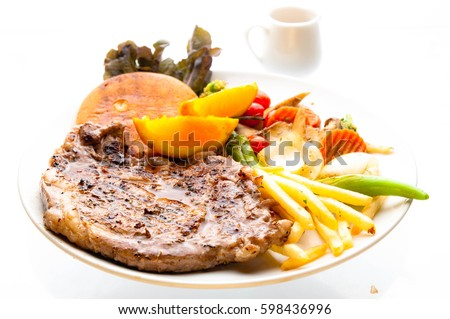 Rib-eye steak  with white background #598436996