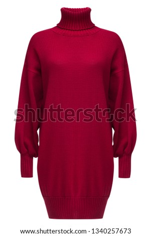Ribbed turtleneck long sleeve oversized wool and mohair-blend dress in bright ruby color isolated on white.