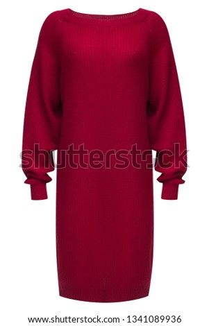 Ribbed turtleneck long sleeve oversized wool and mohair-blend neckless dress in bright ruby color isolated on white.