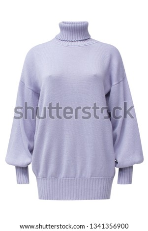 Ribbed turtleneck long sleeve oversized wool and mohair-blend sweater dress in pure lavender color isolated on white.
