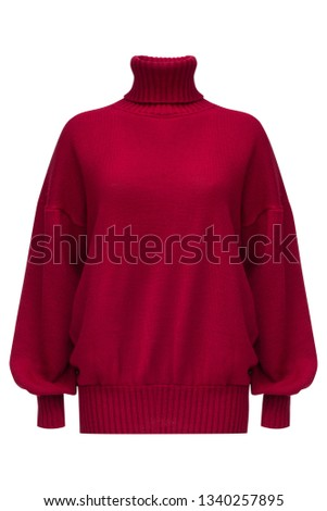 Ribbed turtleneck long sleeve oversized wool and mohair-blend sweater in bright ruby color isolated on white.