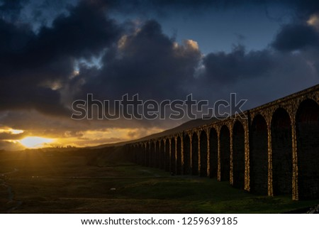 Ribblehead Viaduct, North Yorkshire, Yorkshire Dales, Sunrise, Clouds, Railway, Landscape, Grassland,  Ingleborough