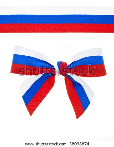 ribbon and bow of the Russian flag sign  isolated on white background