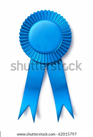 ribbon award 1 competition winner place acheivement red blue white blank isolated