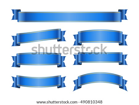 Ribbon banners set. Sign blank for promotion, web, advertising text etc. Collection retro scrolls design decoration elements. Symbol blue vintage label isolated on white background illustration