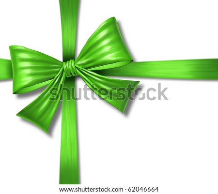 ribbon bow gift box christmas green environment reponsible award isolated package