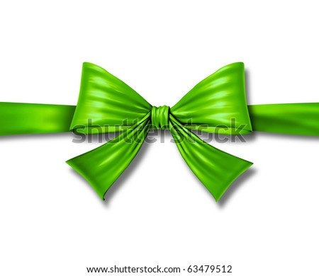ribbon bow gift environment green silk tape box horizontal christmas package isolated