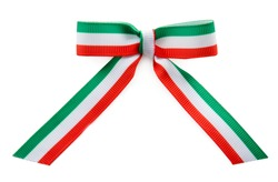 Ribbon bow in colors of Italian flag on white background