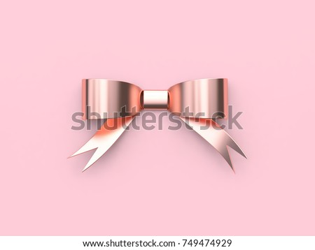ribbon-bow pink metallic reflection rose gold minimal pink background 3d rendering christmas holiday new year concept