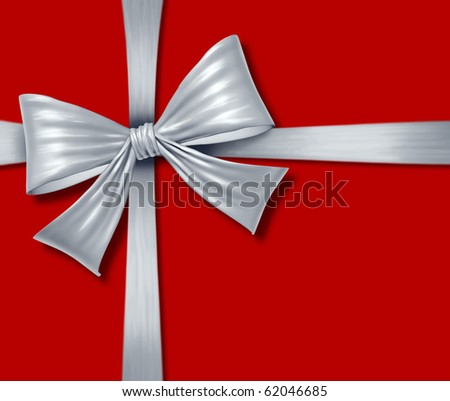 ribbon bow red silver grey silk tape gift box christmas  isolated package