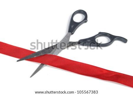 Ribbon cutting - stock photo