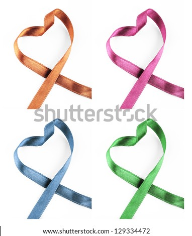 Ribbon Hearts Isolated On White Background
