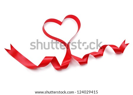 Ribbon in heart shape isolated on white