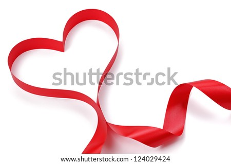 Ribbon in heart shape on white background