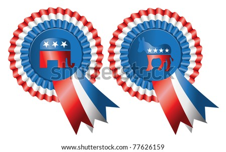 Ribbon style buttons for both Republican and Democratic Parties featuring the elephant and donkey logos, editorial.