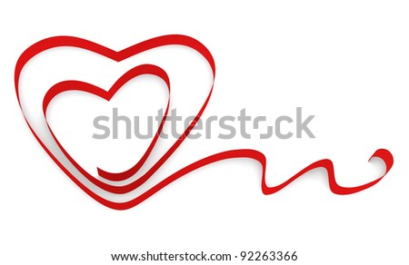 Ribbon twisted in the shape of two hearts on a white background.