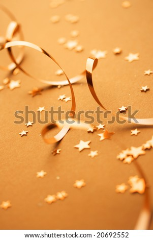 ribbons and small confetti stars, party time