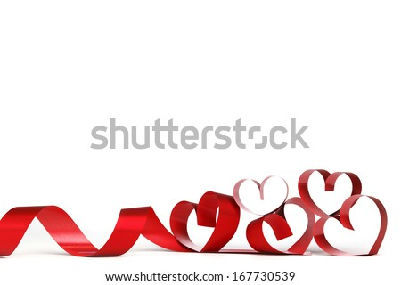 ribbons shaped as hearts on...