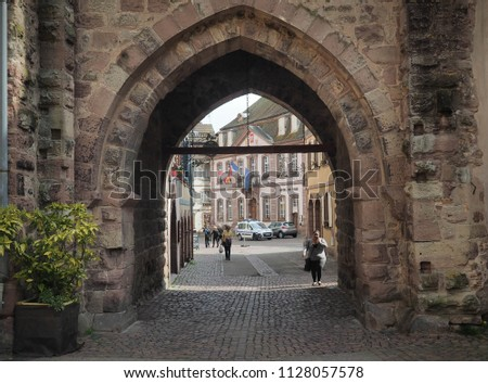RIBEAUVILLE, France - April 9, 2018: An entrance to old town of Ribeauville, France on April 9, 2018 #1128057578