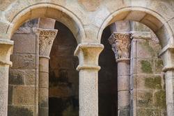 Ribeira sacra romanesque columns. Santa Cristina monastery in Ourense, Spain