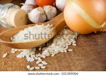 rice and healthy food isolated on wooden background texture