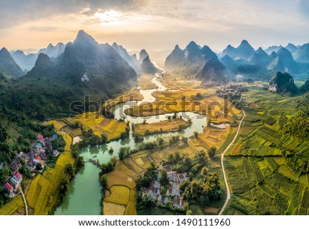 Rice and rice field at Phong Nam village in Trung Khanh, Cao Bang, Vietnam. Landscape of area Trung Khanh, Cao Bang, Vietnam.