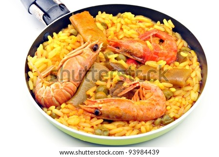 Rice and seafood paella, typical of Spain