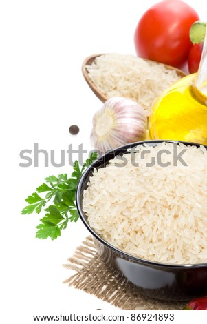 rice and vegetable with food spice isolated on white background