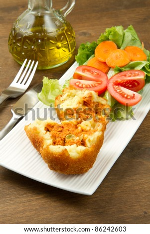 rice ball with meat sauce