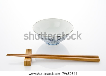 Rice bowl and chopsticks on white background