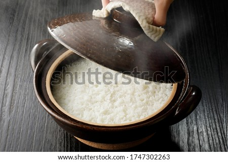 Rice cooked in Japanese hot pot Photo stock ©