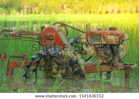 rice farming, walking tractor on green rice field in countryside, Farmers were plowing in preparation for planting, Close up of the old tiller tractor or walking tractor parked in the fields at countr #1541636552