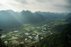 Rice field with mountain in Bac Son valley in Vietnam