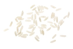 rice grains isolated on white background. Top view. Flat lay