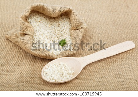 Rice in a bag on sacking.