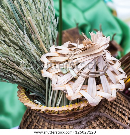 Rice in a bamboo fish trap - stock photo