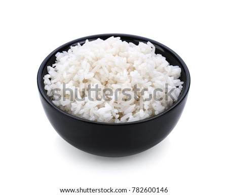 Rice in a bowl on white background #782600146