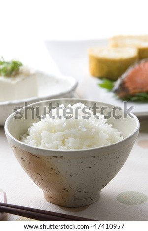 Rice in morning of Japan