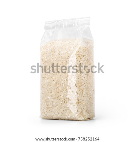 Rice in transparent plastic bag isolated on white background. Packaging template mockup collection. With clipping Path included. Stand-up Halfside view. #758252164