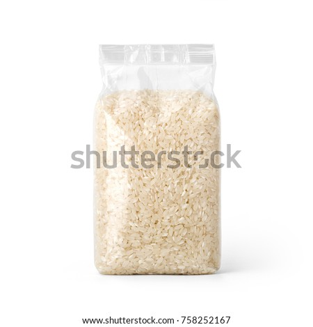 Rice in transparent plastic bag isolated on white background. Packaging template mockup collection. With clipping Path included. Stand-up Front view. #758252167